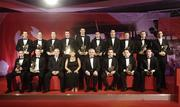 24 November 2006; At the 2006 Vodafone GAA All-Star Awards are, back row left to right, Eoin Murphy, Waterford, JJ Delaney, Kilkenny, Brian Murphy, Cork, Dan Shanahan, Waterford, Tony Browne, Waterford, Ronan Curran, Cork, Tommy Walsh, Kilkenny, Jerry O'Connor, Cork, and Tony Griffin, Clare, front row left to right, James 'Cha' Fitzpatrick, Kilkenny, Henry Shefflin, Kilkenny, Nickey Brennan, President of the GAA, Carolan Lennon, Marketing Director, Vodafone Ireland, An Taoiseach Bertie Ahern T.D., Eddie Brennan, Kilkenny, Eoin Kelly, Tipperary, and Martin Comerford Kilkenny. Citywest Hotel, Dublin. Picture credit: Brendan Moran / SPORTSFILE