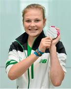 30 August 2014; Team Ireland's Ciara Ginty, from Geesala, Co. Mayo, who won a Silver medal in lightweight boxing, pictured at Dublin Airport on their return from World Youth Olympics in China. Dublin Airport, Dublin. Picture credit: Ramsey Cardy / SPORTSFILE