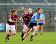 30 August 2014; Siobhan McGrath, Dublin, in action against Lucy Hannon and Caitriona Cormican, Galway. TG4 All-Ireland Ladies Football Senior Championship, Semi-Final, Dublin v Galway, Cusack Park, Mullingar, Co. Westmeath. Picture credit: Oliver McVeigh / SPORTSFILE
