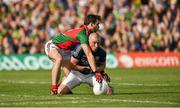 30 August 2014; Kieran Donaghy, Kerry, in action against Ger Cafferkey, Mayo. GAA Football All Ireland Senior Championship, Semi-Final Replay, Kerry v Mayo, Gaelic Grounds, Limerick. Picture credit: Barry Cregg / SPORTSFILE
