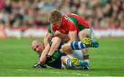 30 August 2014; Kieran Donaghy, Kerry, fails to release the ball after a free was awarded against him, as Kevin Keane, Mayo tries to take it off him. GAA Football All Ireland Senior Championship, Semi-Final Replay, Kerry v Mayo, Gaelic Grounds, Limerick. Picture credit: Barry Cregg / SPORTSFILE