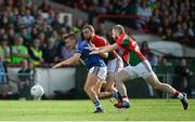30 August 2014; James O'Donoghue, Kerry, in action against Keith Higgins, left, and Michael Conroy, Mayo. GAA Football All Ireland Senior Championship, Semi-Final Replay, Kerry v Mayo, Gaelic Grounds, Limerick. Picture credit: Dáire Brennan / SPORTSFILE