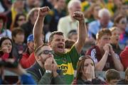 30 August 2014; A Kerry supporters celebrates after James O'Donoghue takes his second successful penalty kick. GAA Football All Ireland Senior Championship, Semi-Final Replay, Kerry v Mayo, Gaelic Grounds, Limerick. Picture credit: Barry Cregg / SPORTSFILE