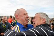 30 August 2014; Kieran Donaghy celebrates with Kerry great Ogie Moran after the game. GAA Football All Ireland Senior Championship, Semi-Final Replay, Kerry v Mayo, Gaelic Grounds, Limerick. Picture credit: Stephen McCarthy / SPORTSFILE