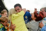 30 August 2014; Anthony Maher, Kerry, is congratulated by supporters after the game. GAA Football All Ireland Senior Championship, Semi-Final Replay, Kerry v Mayo, Gaelic Grounds, Limerick. Picture credit: Barry Cregg / SPORTSFILE
