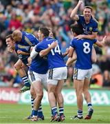 30 August 2014; Kerry players, from left, David Moran, Barry John Keane, Brian Sheehan, Paul Geaney, Marc Ó Sé and Anthony Maher celebrate victory after the final whistle is blown. GAA Football All Ireland Senior Championship, Semi-Final Replay, Kerry v Mayo, Gaelic Grounds, Limerick. Picture credit: Barry Cregg / SPORTSFILE