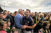 30 August 2014; Marc O Sé, Kerry, celebrates with former Kerry County Board Chairman Seán Walsh after the game. GAA Football All Ireland Senior Championship, Semi-Final Replay, Kerry v Mayo, Gaelic Grounds, Limerick. Picture credit: Dáire Brennan / SPORTSFILE
