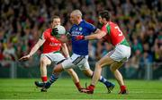 30 August 2014; Kieran Donaghy, Kerry, in action against Donal Vaughan, left, and Ger Cafferkey, Mayo. GAA Football All Ireland Senior Championship, Semi-Final Replay, Kerry v Mayo. Gaelic Grounds, Limerick. Picture credit: Diarmuid Greene / SPORTSFILE
