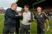 30 August 2014; Kerry manager Eamonn Fitzmaurice with selectors Diarmuid Murphy, left, and Mikey Sheehy, right, following the final whistle. GAA Football All Ireland Senior Championship, Semi-Final Replay, Kerry v Mayo. Gaelic Grounds, Limerick. Picture credit: Stephen McCarthy / SPORTSFILE