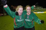 2 December 2006; Emma Mullin, left and Aoife Herbert, Mayo League celebrate victory. Women's FAI Senior Cup Final, UCD v Mayo League, Richmond Park, Dublin. Picture credit: Damien Eagers / SPORTSFILE