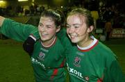 2 December 2006; Mayo League captain Michelle Ruane, left, and her team-mate Aoife Herbert  celebrate victory. Women's FAI Senior Cup Final, UCD v Mayo League, Richmond Park, Dublin. Picture credit: Damien Eagers / SPORTSFILE