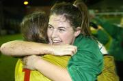 2 December 2006; Mayo League captain Michelle Ruane and goalkeeper Yvonne Byrne, celebrate victory. Women's FAI Senior Cup Final, UCD v Mayo League, Richmond Park, Dublin. Picture credit: Damien Eagers / SPORTSFILE