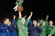 2 December 2006; Mayo League captain Michelle Ruane lifts the cup as she is applauded by her team-mates and David Blood, President of the FAI. Women's FAI Senior Cup Final, UCD v Mayo League, Richmond Park, Dublin. Picture credit: Damien Eagers / SPORTSFILE