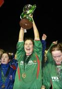2 December 2006; Mayo League captain, Michelle Ruane lifts the cup. Women's FAI Senior Cup Final, UCD v Mayo League, Richmond Park, Dublin. Picture credit: Damien Eagers / SPORTSFILE