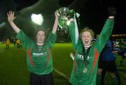 2 December 2006; Mayo League players Emma Mullin, right, and Karen Lilly celebrate with the cup. Women's FAI Senior Cup Final, UCD v Mayo League, Richmond Park, Dublin. Picture credit: Damien Eagers / SPORTSFILE