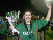 2 December 2006; Mayo League captain Michelle Ruane celebrates with the cup. Women's FAI Senior Cup Final, UCD v Mayo League, Richmond Park, Dublin. Picture credit: Damien Eagers / SPORTSFILE