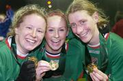 2 December 2006; Mayo League players from left, Emma Mullin, Triona McNicholas and Cora Staunton celebrate victory. Women's FAI Senior Cup Final, UCD v Mayo League, Richmond Park, Dublin. Picture credit: Damien Eagers / SPORTSFILE