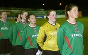 2 December 2006; Captain of the Mayo League Michelle Ruane leads her team as they stand for the national anthem 'Amhrain na bhFiann'. Women's FAI Senior Cup Final, UCD v Mayo League, Richmond Park, Dublin. Picture credit: Damien Eagers / SPORTSFILE