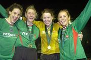 2 December 2006; Mayo League team-mates, from left, Marta Carter, Cora Staunton, Yvonne Byrne, goalkeeper, and Triona McNicolas celebrate victory. Women's FAI Senior Cup Final, UCD v Mayo League, Richmond Park, Dublin. Picture credit: Damien Eagers / SPORTSFILE