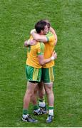31 August 2014; Odhrán Mac Niallas, left, and Dermot Molloy, Donegal, celebrate after the game. GAA Football All Ireland Senior Championship, Semi-Final, Dublin v Donegal, Croke Park, Dublin. Picture credit: Dáire Brennan / SPORTSFILE