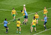 31 August 2014; Jack McCaffrey, Dublin, in action against David Walsh, Donegal. GAA Football All Ireland Senior Championship, Semi-Final, Dublin v Donegal, Croke Park, Dublin. Picture credit: Dáire Brennan / SPORTSFILE