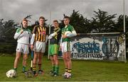 1 September 2014; This is Major: Electric Ireland linked up with All Ireland Minor GAA finalist captains, from left, Cian Lynch, Limerick, Darragh Joyce, Kilkenny, Niall Harley, Donegal, and Liam Kearney, Kerry, ahead of the 2014 All-Ireland Minor Hurling & Football Championship Finals. Clanna Gael Fontenoy GAA Club, Ringsend, Dublin. Picture credit: Paul Mohan / SPORTSFILE