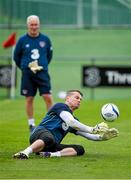 1 September 2014; Republic of Ireland goalkeeper Shay Given makes a save watched by goalkeeping coach Seamus McDonagh during squad training ahead of their side's International friendly match against Oman on Wednesday. Republic of Ireland Squad Training, Gannon Park, Malahide, Co. Dublin. Picture credit: Brendan Moran / SPORTSFILE