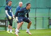 1 September 2014; Republic of Ireland goalkeeper David Forde, watched by Shay Given and goalkeeping coach Seamus McDonagh, during squad training ahead of their side's International friendly match against Oman on Wednesday. Republic of Ireland Squad Training, Gannon Park, Malahide, Co. Dublin. Picture credit: Brendan Moran / SPORTSFILE