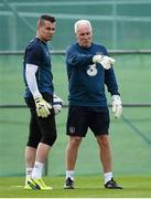 1 September 2014; Republic of Ireland goalkeeper Shay Given with goalkeeping coach Seamus McDonagh during squad training ahead of their side's International friendly match against Oman on Wednesday. Republic of Ireland Squad Training, Gannon Park, Malahide, Co. Dublin. Picture credit: Brendan Moran / SPORTSFILE