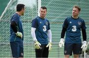 1 September 2014; Republic of Ireland goalkeepers, from left, David Forde, Shay Given, and Rob Elliott during squad training ahead of their side's International friendly match against Oman on Wednesday. Republic of Ireland Squad Training, Gannon Park, Malahide, Co. Dublin. Picture credit: Brendan Moran / SPORTSFILE