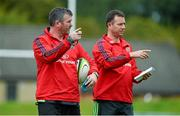 1 September 2014; Munster head coach Anthony Foley, left, and assistant coach Brian Walsh during squad training ahead of their Guinness PRO12 round 1 match against Edinburgh on Friday. Munster Rugby Squad Training, University of Limerick, Limerick. Picture credit: Diarmuid Greene / SPORTSFILE