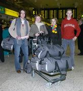 8 December 2006; Members of the Irish team, from left, Mick Clohisey, Orla O'Mahoney, Niamh Kissane, team physio, and Mark Kirwan at Dublin airport prior to the Irish Athletics Team's departure to Italy for the European Cross Country Championships. Dublin Airport, Dublin. Picture credit: Brendan Moran / SPORTSFILE