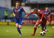 1 September 2014; Chris Forrester, St Patrick's Athletic, in action against Ryan Robinson, Shelbourne FC. FAI Ford Cup, 3rd Round Replay, Shelbourne FC v St Patrick's Athletic. Tolka Park, Dublin. Picture credit: Barry Cregg / SPORTSFILE