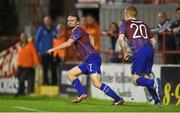 1 September 2014; St Patrick's Athletic's Conan Byrne, left, celebrates after scoring the opening goal of the game. FAI Ford Cup, 3rd Round Replay, Shelbourne FC v St Patrick's Athletic. Tolka Park, Dublin. Picture credit: Barry Cregg / SPORTSFILE