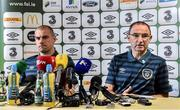 2 September 2014; Republic of Ireland manager Martin O'Neill and Darron Gibson, left, during a press conference ahead of their side's International friendly match against Oman on Wednesday. Republic of Ireland Press Conference, Grand Hotel,  Malahide, Co. Dublin. Picture credit: David Maher / SPORTSFILE