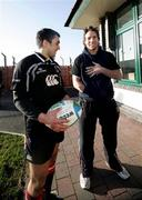 10 January 2007; Ulster's Kieran Campbell, left, chats to his injured scrum half team-mate, Isaac Boss, after rugby squad training. Newforge Country Club, Belfast, Co. Antrim. Picture credit: Oliver McVeigh / SPORTSFILE