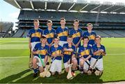 7 September 2014; The Tipperary hurling team, back row, from left, Cormac Ryan, Doon C.B.S., Doon, Co. Limerick, Peadair Mac Domhnaill, St. Joseph's CBS, Fairview, Dublin, Conor Sweeney, Dungourney NS, Dungourney, Co. Cork, Darren Foley, GeevaghNS, Geevagh, Co. Roscommon, and Ethan McPhillips, Tattygar PS, Lisbellaw, Co. Fermanagh. Front row, from left, Anthony Crossan, Barrack Street PS, Strabane, Co. Tyrone, Aodán Whitty, Craanford NS, Gorey, Co. Wexford, Tiarnan O'Neill, St. Canices', Dungiven, Co. Derry, Conor Shalvey, Doire na Ceise, Cootehill, Co. Cavan, and Daryl Bradley Beatty, Francis Street CBS, Francis Street, Dublin. INTO/RESPECT Exhibition GoGames. Croke Park, Dublin. Picture credit: Pat Murphy / SPORTSFILE