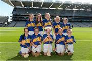 7 September 2014; The Tipperary Camogie team, back row, from left, Roisin Toland, St. Patrick's Girls, Carndonagh, Co. Donegal, Aoife Godley, St. Erc's NS, Ardfert, Co. Kerry, Grainne Glynn, Kilmaley NS, Kilmaley, Co. Clare, Aoife Kealy, Ballyadams NS, Athy, Co. Laois, and Sarah Lawlor, Ardfert NS, Ardfert, Co. Kerry. Front row, from left, Caoimhe Cahill, Ardrahan NS, Ardrahan, Co. Galway, Clodagh O'Kane, St. Joseph's PS, Ballymena, Co. Antrim, Orla Lyons, Lanesboro NS, Lanesboro, Co. Longford, Niamh Kennedy, St. Peter's NS, Castlebar, Co. Mayo, and Eimear Traynor, Clonalig PS, Newry, Co. Down. INTO/RESPECT Exhibition GoGames. Croke Park, Dublin. Picture credit: Pat Murphy / SPORTSFILE