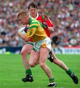 24 July 1994; Declan Darcy of Leitrim is tackled by Pat Fallon of Mayo during the Connacht GAA Football Senior Championship Final match between Leitrim and Mayo at Dr Hyde Park in Roscommon. Photo by David Maher/Sportsfile