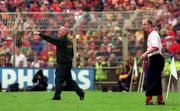 26 September 1999; Meath manager Sean Boylan, left, and Cork manager Larry Tompkins during the Bank of Ireland All-Ireland Senior Football Championship Final between Meath and Cork at Croke Park in Dublin. Photo by Ray McManus/Sportsfile