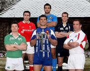 24 January 2007; Team captains, from left, Brian O'Driscoll, Ireland, Stephen Jones, Wales, Fabien Pelous, France, Marco Bortolami, Italy, Chris Patterson, Scotland, and Phil Vickery, England, with the RBS Six Nations trophy at the launch of the RBS Six Nations 2007. The Hurlingham Club, London, England. Picture credit: Paul Thomas / SPORTSFILE