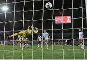 7 September 2014; Georgian goalkeeper Roin Kvaskhvadze is unable to keep out the shot from Republic of Ireland's Aiden McGeady, left, to win the game. UEFA EURO 2016 Championship Qualifer, Group D, Georgia v Republic of Ireland. Boris Paichadze National Arena, Tbilisi, Georgia. Picture credit: David Maher / SPORTSFILE