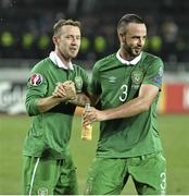 7 September 2014; Aiden McGeady, left, Republic of Ireland, celebrates with Marc Wilson, at the end of the game. UEFA EURO 2016 Championship Qualifer, Group D, Georgia v Republic of Ireland. Boris Paichadze National Arena, Tbilisi, Georgia. Picture credit: David Maher / SPORTSFILE