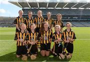7 September 2014; The Kilkenny Camogie team, back row, from left, Niamh Dempster, St. Patrick's Ballygalget, Co. Down, Shauna O'Leary, Rathnure NS, Enniscorthy, Co. Wexford, Rachel Doyle, Gowran NS, Gowran, Co. Kilkenny, Sara Lagan, St. Mary's PS, Draperstown, Co. Derry, Marie Kelly, Mercy Convent NS, Naas, Co. Kildare. Front row, from left, Zara Bowles, Ballintotis NS, Castlemartyr, Co. Cork, Eimear Doyle, Scoil Naomh Brid, Talbotstown, Co. Wicklow, Becky Bryant, Mucklagh NS, Tullamore, Co. Offaly, Nicoletti Flynn, St. Audeon's NS, Cook Street, Dublin, and Noelle Curtin, Templeglantine NS, Templeglantine, Co. Limerick. INTO/RESPECT Exhibition GoGames. Croke Park, Dublin. Picture credit: Pat Murphy / SPORTSFILE