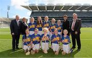 7 September 2014; Uachtarán Chumann Lúthchleas Gael Liam Ó Néill with, from left, Maireád Ó Cullaghan, Secretary of Cumann na mBunscoil, Aileen Lawlor, President of the Camogie Association, Sean McMahon, President of the I.N.T.O. and the Tipperary Camogie team, back row, from left, Roisin Toland, St. Patrick's Girls, Carndonagh, Co. Donegal, Aoife Godley, St. Erc's NS, Ardfert, Co. Kerry, Grainne Glynn, Kilmaley NS, Kilmaley, Co. Clare, Aoife Kealy, Ballyadams NS, Athy, Co. Laois, and Sarah Lawlor, Ardfert NS, Ardfert, Co. Kerry. Front row, from left, Caoimhe Cahill, Ardrahan NS, Ardrahan, Co. Galway, Clodagh O'Kane, St. Joseph's PS, Ballymena, Co. Antrim, Orla Lyons, Lanesboro NS, Lanesboro, Co. Longford, Niamh Kennedy, St. Peter's NS, Castlebar, Co. Mayo, and EimearTraynor, Clonalig PS, Newry, Co. Down. INTO/RESPECT Exhibition GoGames. Croke Park, Dublin. Picture credit: Pat Murphy / SPORTSFILE