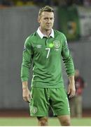 7 September 2014; Aiden McGeady, Republic of Ireland, has a laser pointed at his chest during the game as he prepares to take a free kick. UEFA EURO 2016 Championship Qualifer, Group D, Georgia v Republic of Ireland. Boris Paichadze National Arena, Tbilisi, Georgia. Picture credit: David Maher / SPORTSFILE