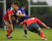 5 September 2014; Robert Vallejo, Leinster, is tackled by Greg O'Shea, left, and Paul Kiernan, Munster. Under 20 Interprovincial, Leinster v Munster, Ashbourne RFC, Ashbourne, Co. Meath. Picture credit: Pat Murphy / SPORTSFILE