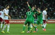 7 September 2014; Aiden McGeady, centre, Republic of Ireland, celebrates after scoring his side's second and winning goal witih team-mates Stephen Ward and Robbie Brady. UEFA EURO 2016 Championship Qualifer, Group D, Georgia v Republic of Ireland. Boris Paichadze National Arena, Tbilisi, Georgia. Picture credit: David Maher / SPORTSFILE