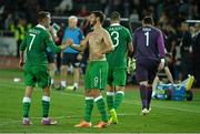 7 September 2014; Republic of Ireland's Aiden McGeady, left, celebrates with Shane Long at the end of the game. UEFA EURO 2016 Championship Qualifer, Group D, Georgia v Republic of Ireland. Boris Paichadze National Arena, Tbilisi, Georgia. Picture credit: David Maher / SPORTSFILE