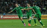 7 September 2014; Republic of Ireland's Aiden McGeady, left, celebrates after scoring his side's second and winning goal witih team-mates Robbie Brady and Stephen Ward. UEFA EURO 2016 Championship Qualifer, Group D, Georgia v Republic of Ireland. Boris Paichadze National Arena, Tbilisi, Georgia. Picture credit: David Maher / SPORTSFILE